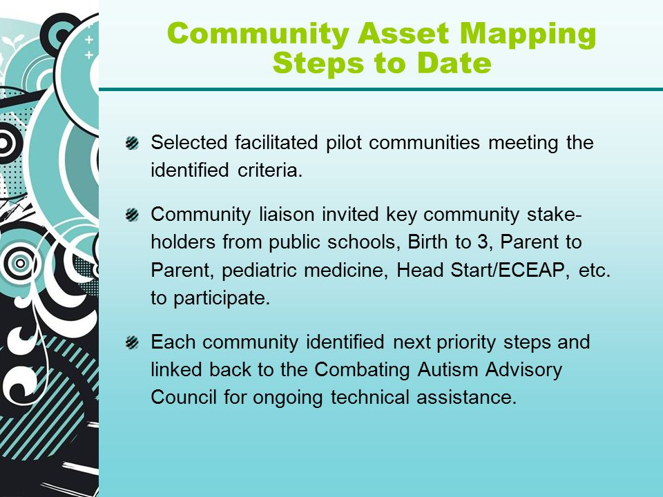 Community Asset Mapping Steps to Date Selected facilitated pilot communities meeting the identified criteria.