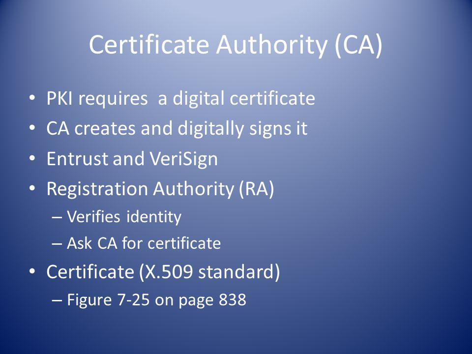 Certificate Authority (CA) PKI requires a digital certificate CA creates and digitally signs it Entrust and VeriSign Registration Authority (RA) – Verifies identity – Ask CA for certificate Certificate (X.509 standard) – Figure 7-25 on page 838