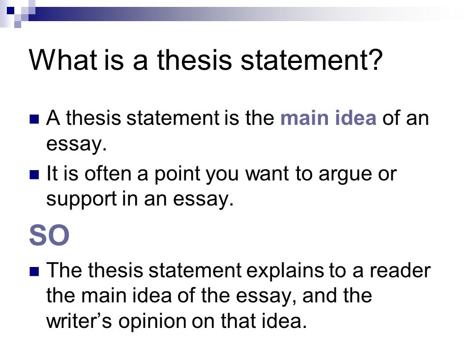 What is a thesis statement. A thesis statement is the main idea of an essay.