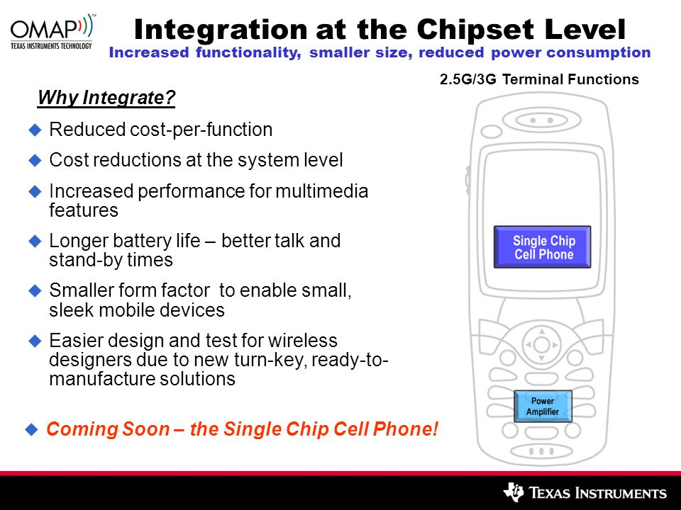 2.5G/3G Terminal Functions Integration at the Chipset Level Increased functionality, smaller size, reduced power consumption  Coming Soon – the Single Chip Cell Phone.