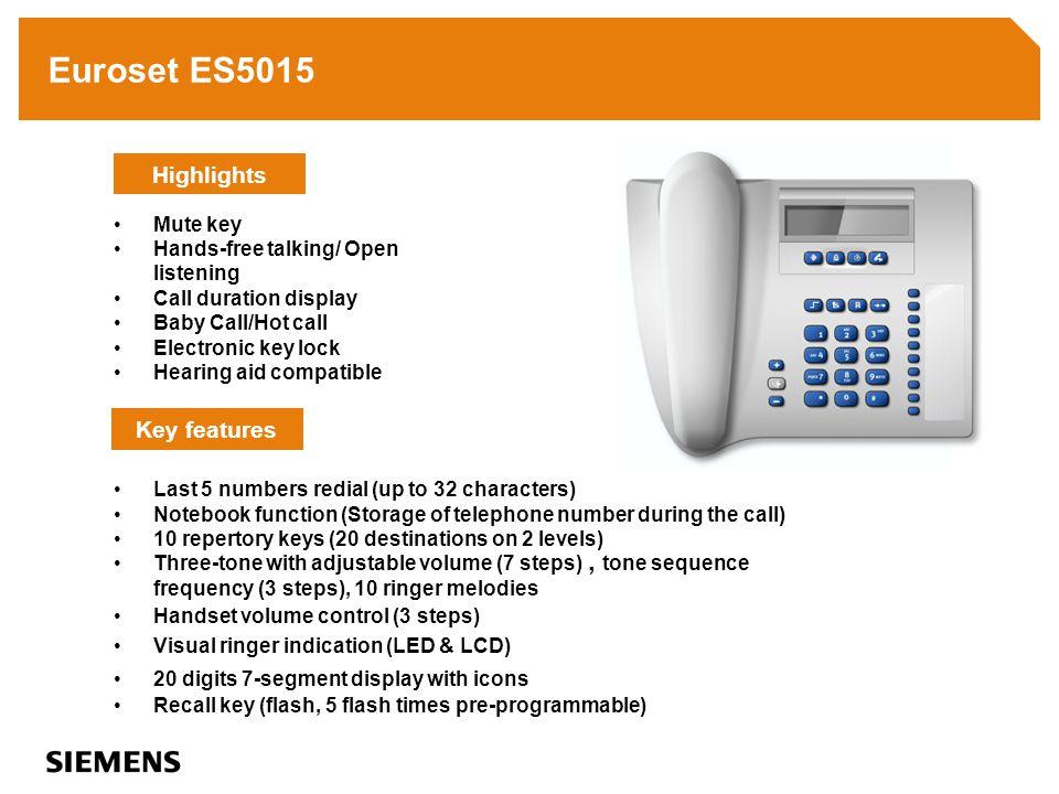 Euroset ES5005 Last number redial (up to 31 characters) 4 name keys