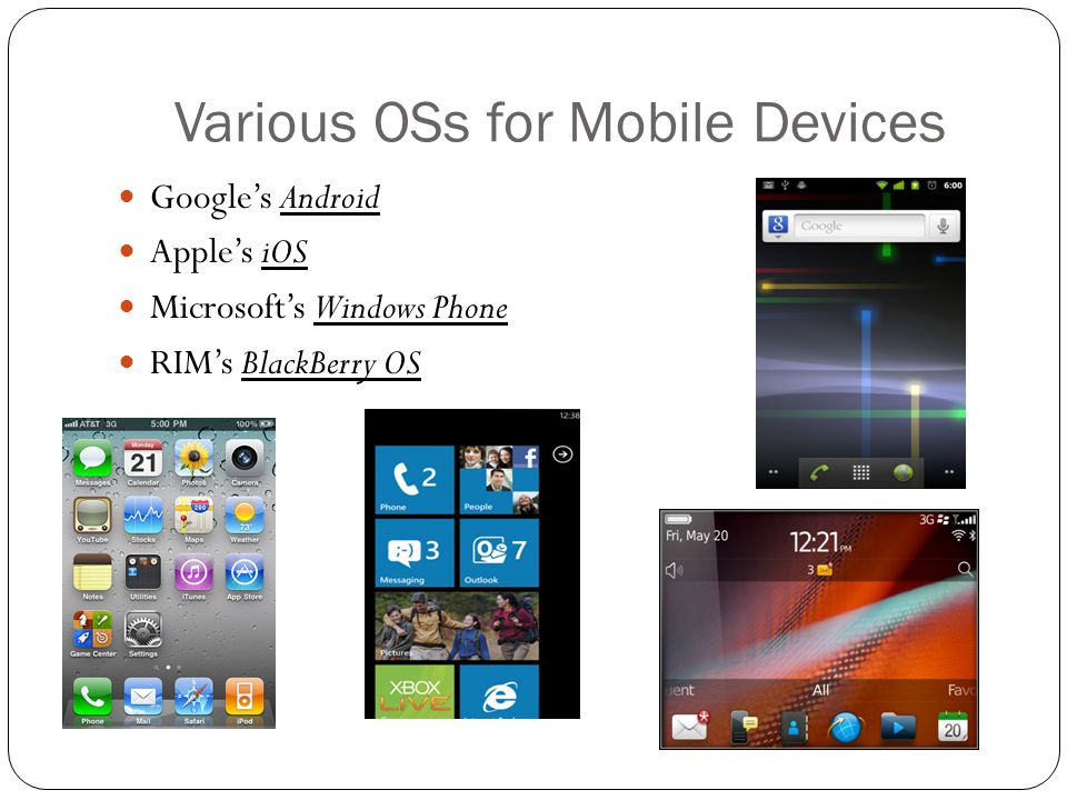 Various OSs for Mobile Devices Google's Android Apple's iOS Microsoft's Windows Phone RIM's BlackBerry OS