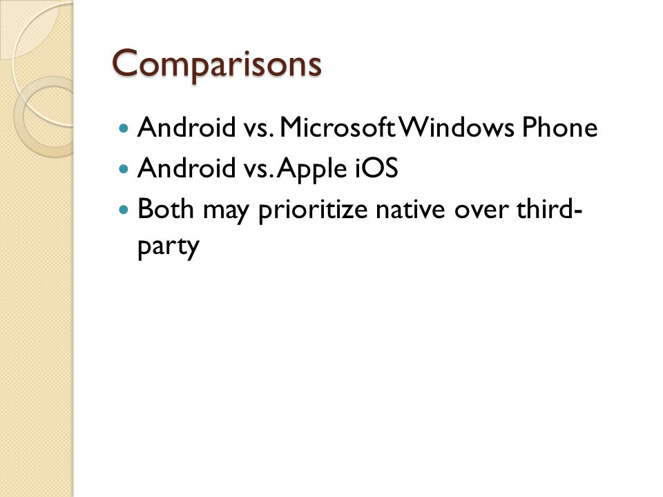 Comparisons Android vs. Microsoft Windows Phone Android vs.
