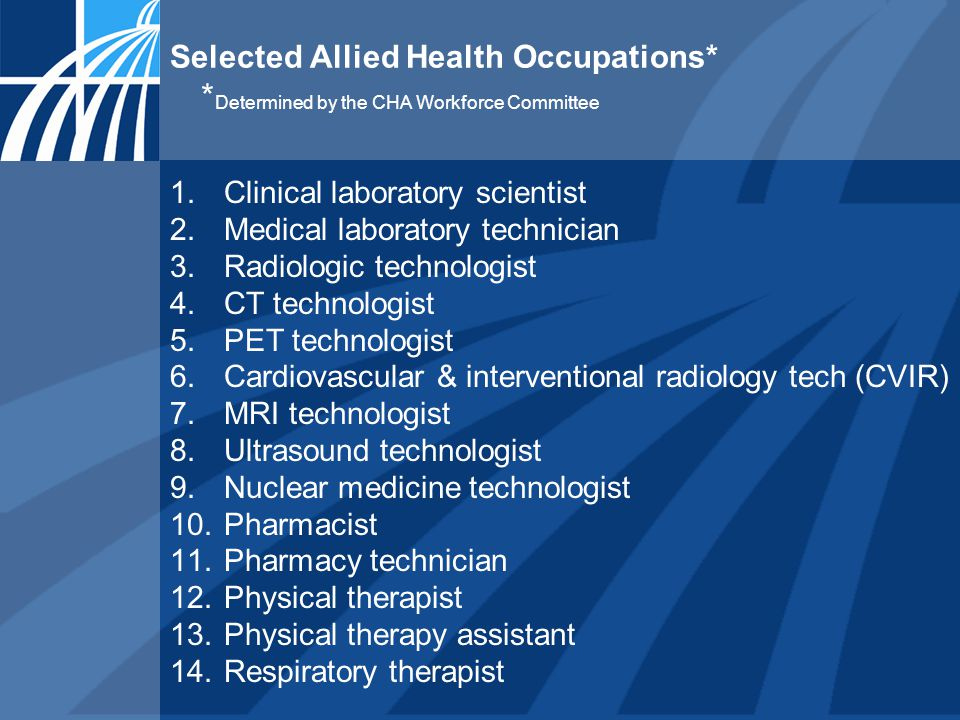 Selected Allied Health Occupations* * Determined by the CHA Workforce Committee 1.Clinical laboratory scientist 2.Medical laboratory technician 3.Radiologic technologist 4.CT technologist 5.PET technologist 6.Cardiovascular & interventional radiology tech (CVIR) 7.MRI technologist 8.Ultrasound technologist 9.Nuclear medicine technologist 10.Pharmacist 11.Pharmacy technician 12.Physical therapist 13.Physical therapy assistant 14.Respiratory therapist