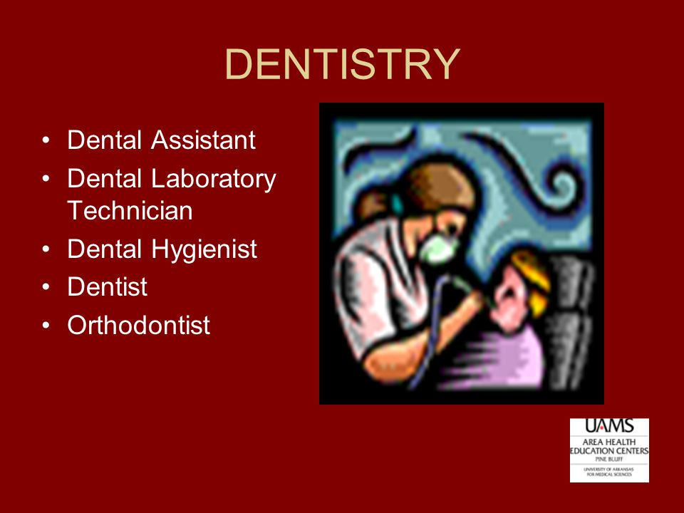 DENTISTRY Dental Assistant Dental Laboratory Technician Dental Hygienist Dentist Orthodontist