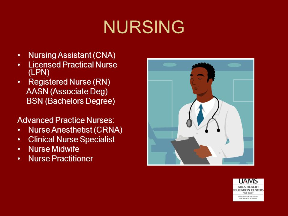 NURSING Nursing Assistant (CNA) Licensed Practical Nurse (LPN) Registered Nurse (RN) AASN (Associate Deg) BSN (Bachelors Degree) Advanced Practice Nurses: Nurse Anesthetist (CRNA) Clinical Nurse Specialist Nurse Midwife Nurse Practitioner