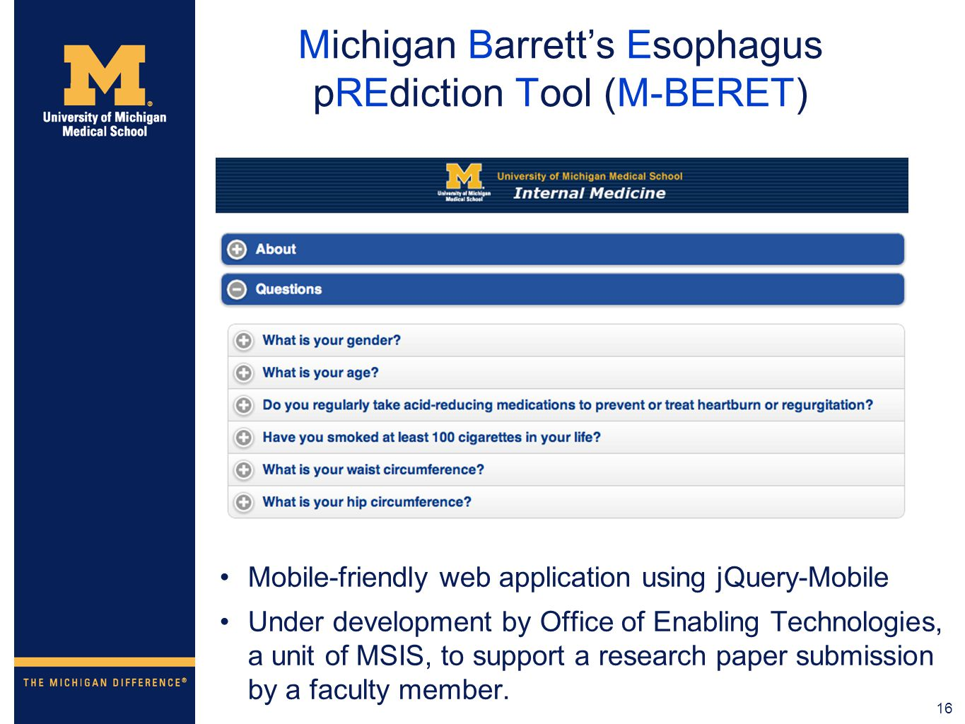 Developing Mobile Apps at the University of Michigan Medical
