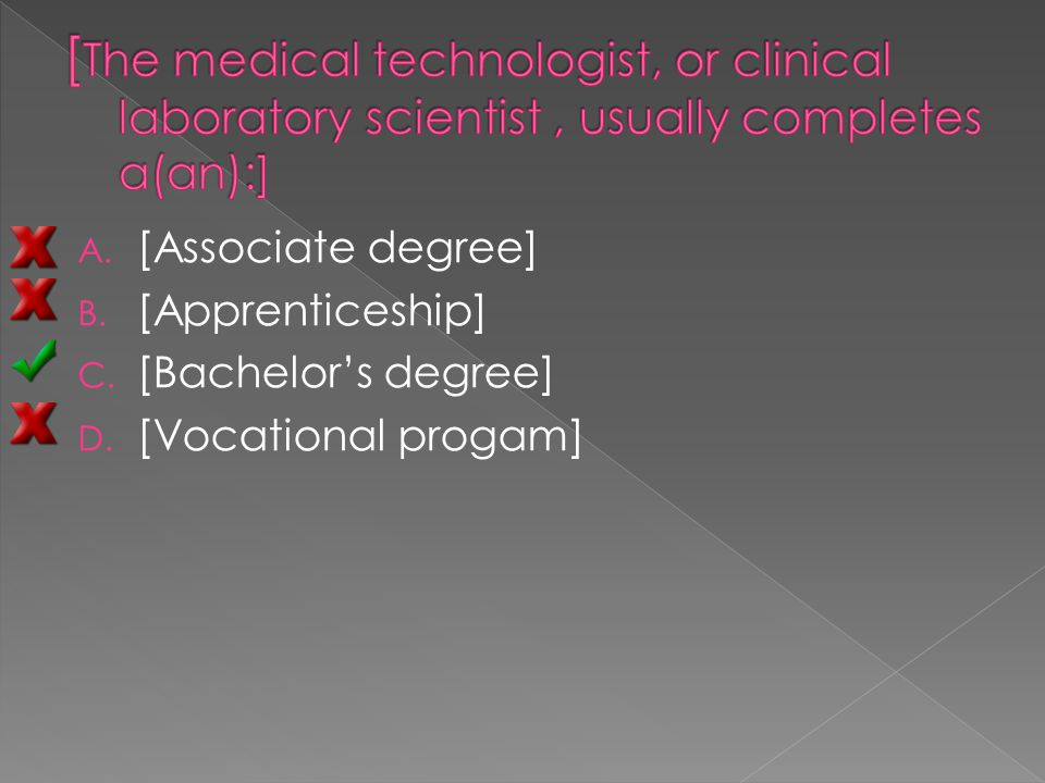 A. [Associate degree] B. [Apprenticeship] C. [Bachelor's degree] D. [Vocational progam]
