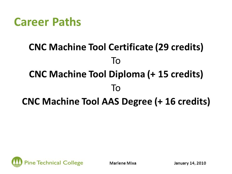Career Paths CNC Machine Tool Certificate (29 credits) To CNC Machine Tool Diploma (+ 15 credits) To CNC Machine Tool AAS Degree (+ 16 credits) Marlene MixaJanuary 14, 2010