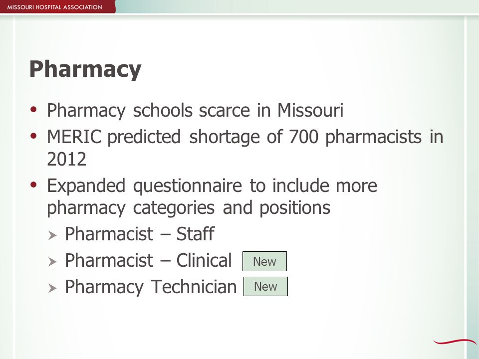 Pharmacy  Pharmacy schools scarce in Missouri  MERIC predicted shortage of 700 pharmacists in 2012  Expanded questionnaire to include more pharmacy categories and positions  Pharmacist – Staff  Pharmacist – Clinical  Pharmacy Technician New
