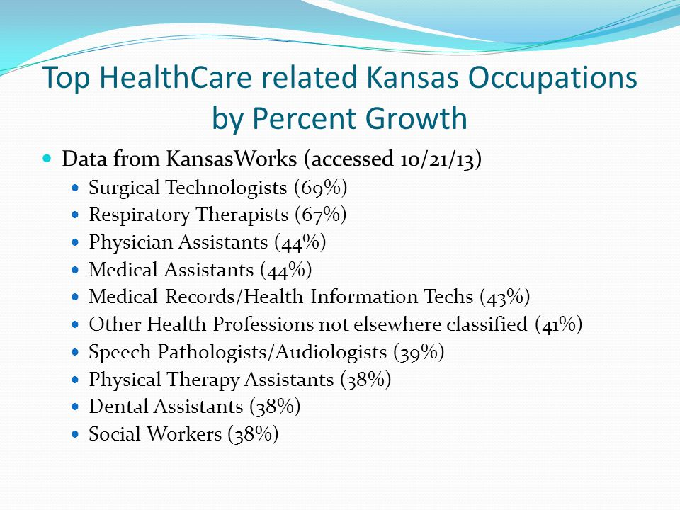 Top HealthCare related Kansas Occupations by Percent Growth Data from KansasWorks (accessed 10/21/13) Surgical Technologists (69%) Respiratory Therapists (67%) Physician Assistants (44%) Medical Assistants (44%) Medical Records/Health Information Techs (43%) Other Health Professions not elsewhere classified (41%) Speech Pathologists/Audiologists (39%) Physical Therapy Assistants (38%) Dental Assistants (38%) Social Workers (38%)