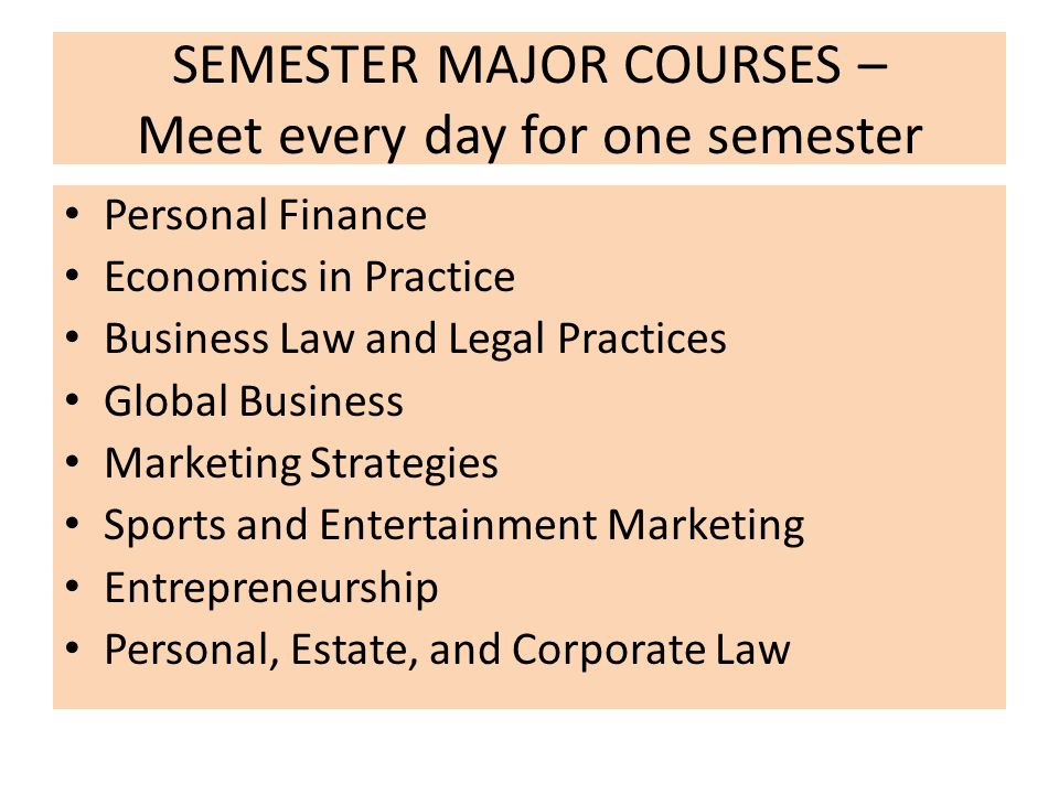 SEMESTER MAJOR COURSES – Meet every day for one semester Personal Finance Economics in Practice Business Law and Legal Practices Global Business Marketing Strategies Sports and Entertainment Marketing Entrepreneurship Personal, Estate, and Corporate Law