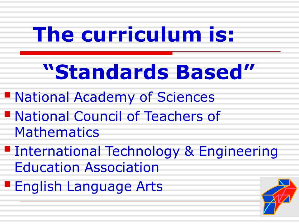 The curriculum is: Standards Based  National Academy of Sciences  National Council of Teachers of Mathematics  International Technology & Engineering Education Association  English Language Arts