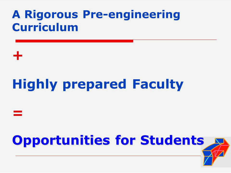 A Rigorous Pre-engineering Curriculum + Highly prepared Faculty = Opportunities for Students