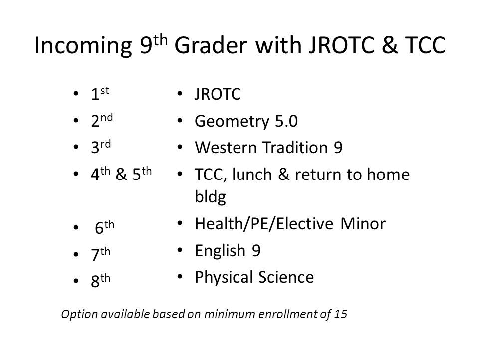 Incoming 9 th Grader with JROTC & TCC 1 st 2 nd 3 rd 4 th & 5 th 6 th 7 th 8 th JROTC Geometry 5.0 Western Tradition 9 TCC, lunch & return to home bldg Health/PE/Elective Minor English 9 Physical Science Option available based on minimum enrollment of 15