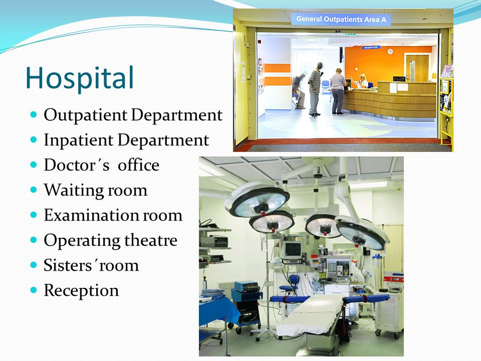 Hospital Outpatient Department Inpatient Department Doctor´s office Waiting room Examination room Operating theatre Sisters´room Reception