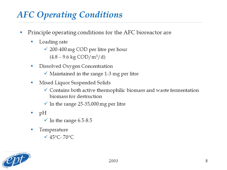 20038 AFC Operating Conditions Principle operating conditions for the AFC bioreactor are  Loading rate mg COD per litre per hour (4.8 – 9.6 kg COD/m 3 /d)  Dissolved Oxygen Concentration Maintained in the range 1-3 mg per litre  Mixed Liquor Suspended Solids Contains both active thermophilic biomass and waste fermentation biomass for destruction In the range 25-35,000 mg per litre  pH In the range  Temperature 45  C- 70  C