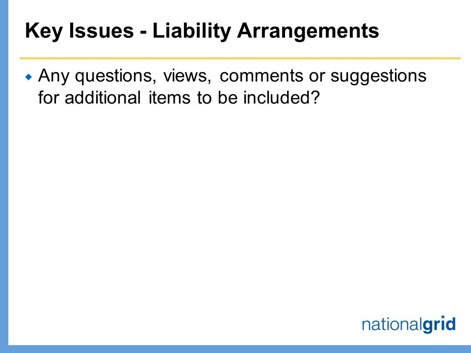 Key Issues - Liability Arrangements  Any questions, views, comments or suggestions for additional items to be included