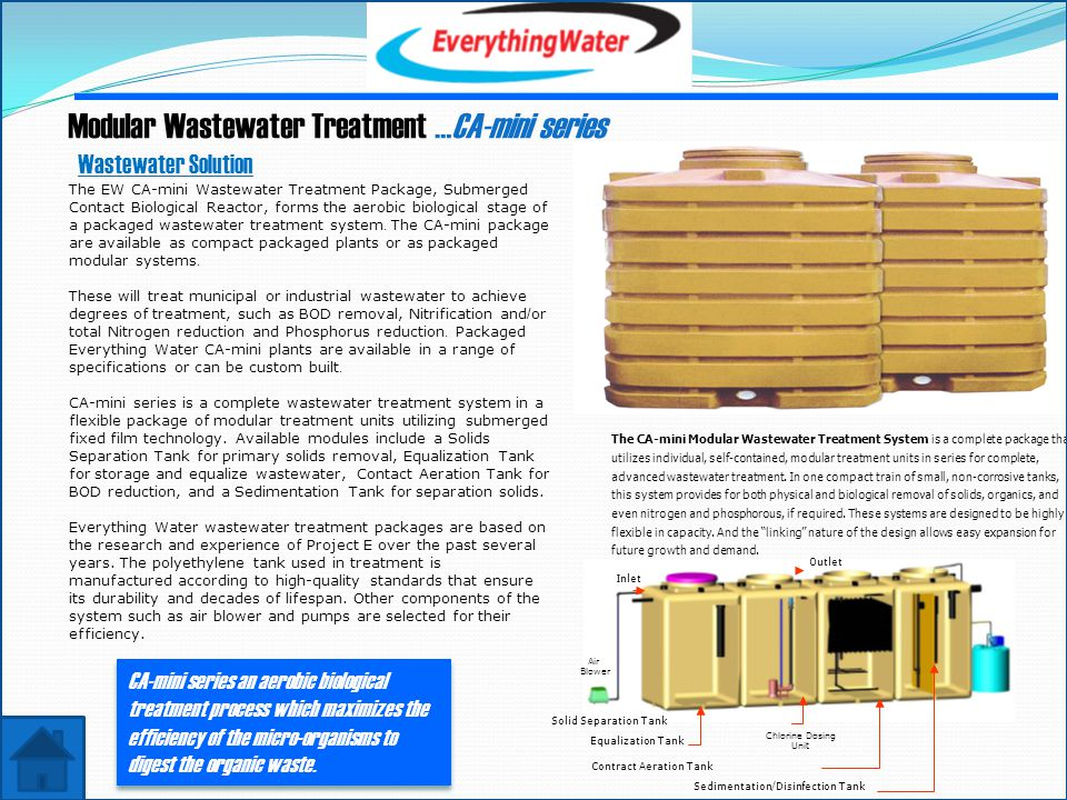 Modular Wastewater Treatment …CA-mini series The EW CA-mini Wastewater Treatment Package, Submerged Contact Biological Reactor, forms the aerobic biological stage of a packaged wastewater treatment system.