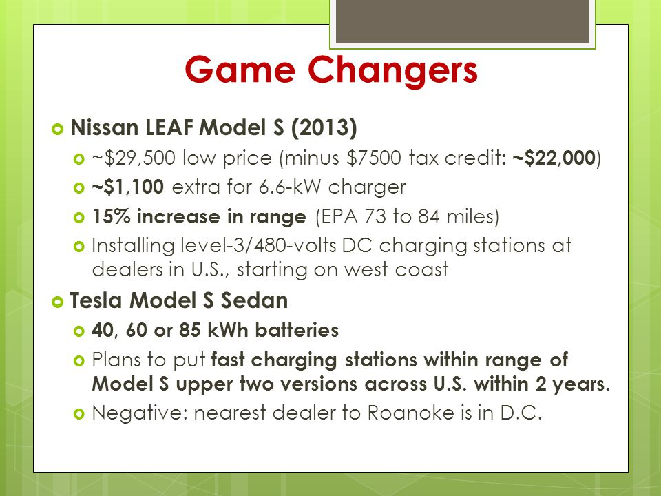 Game Changers  Nissan LEAF Model S (2013)  ~$29,500 low price (minus $7500 tax credit : ~$22,000 )  ~$1,100 extra for 6.6-kW charger  15% increase in range (EPA 73 to 84 miles)  Installing level-3/480-volts DC charging stations at dealers in U.S., starting on west coast  Tesla Model S Sedan  40, 60 or 85 kWh batteries  Plans to put fast charging stations within range of Model S upper two versions across U.S.