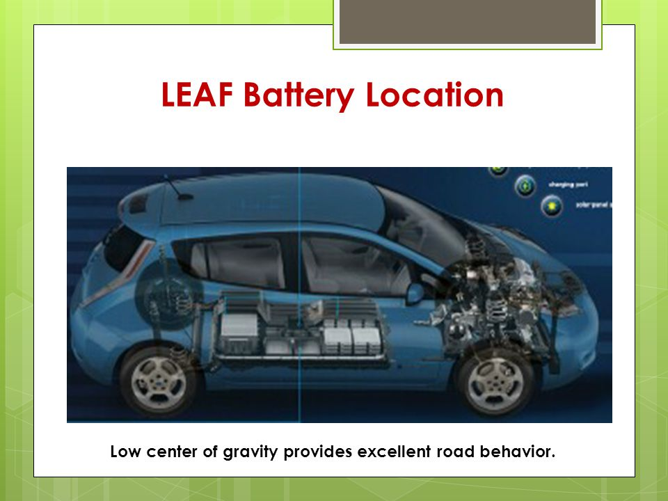 LEAF Battery Location Low center of gravity provides excellent road behavior.
