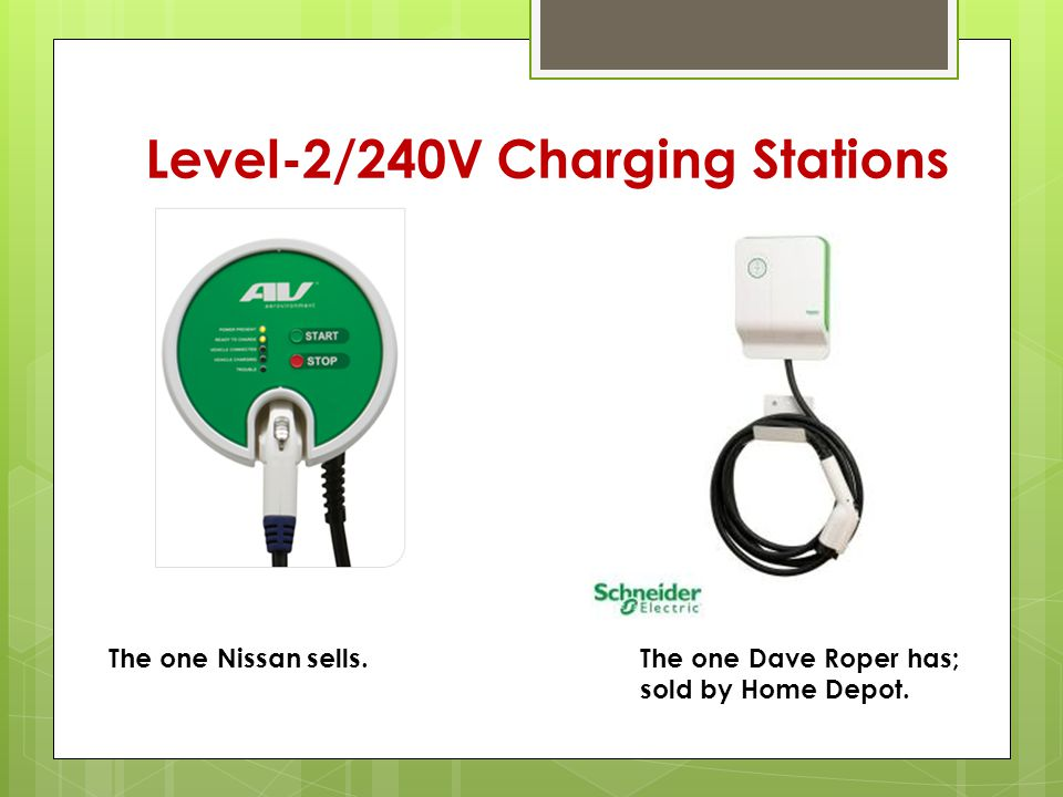Level-2/240V Charging Stations The one Nissan sells.The one Dave Roper has; sold by Home Depot.