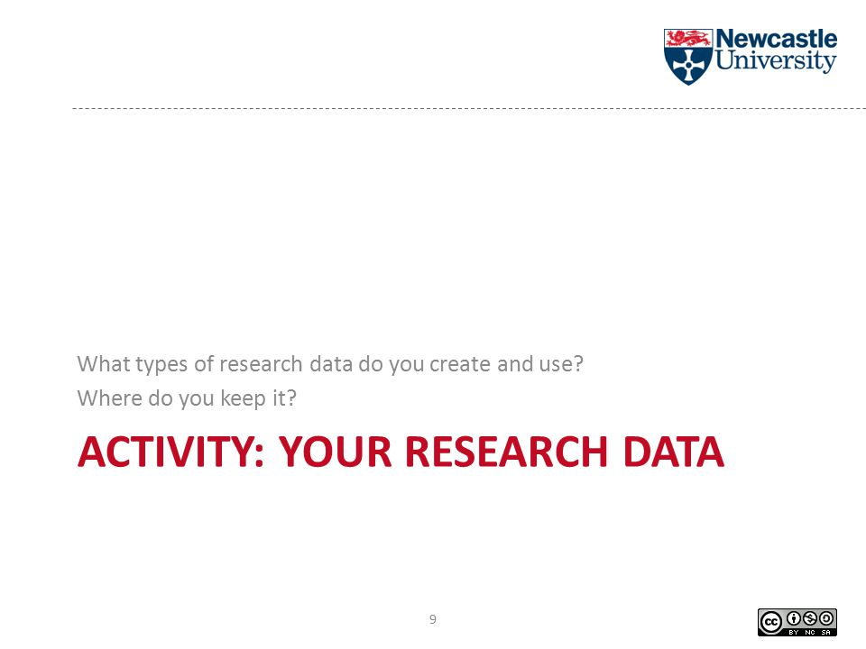 ACTIVITY: YOUR RESEARCH DATA What types of research data do you create and use.