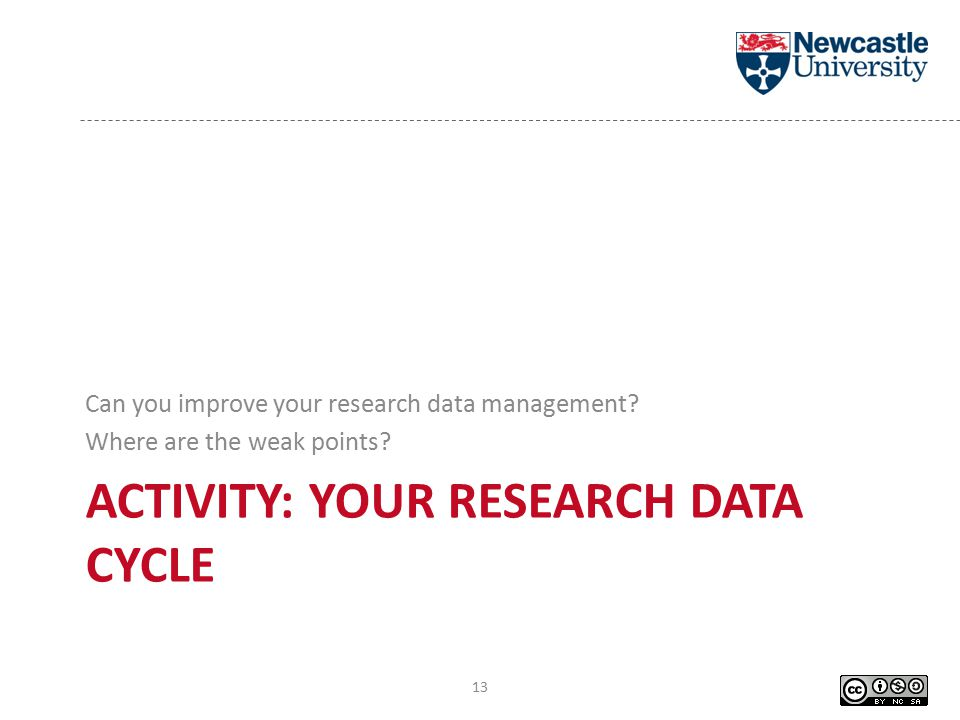 ACTIVITY: YOUR RESEARCH DATA CYCLE Can you improve your research data management.