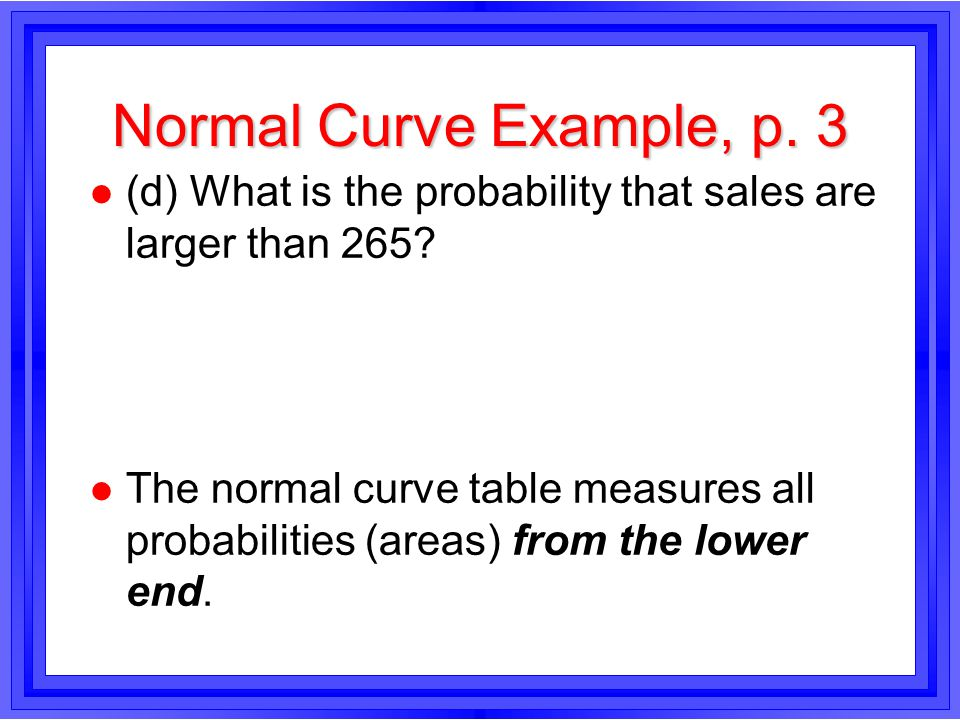 Normal Curve Example, p. 3 l (d) What is the probability that sales are larger than 265.