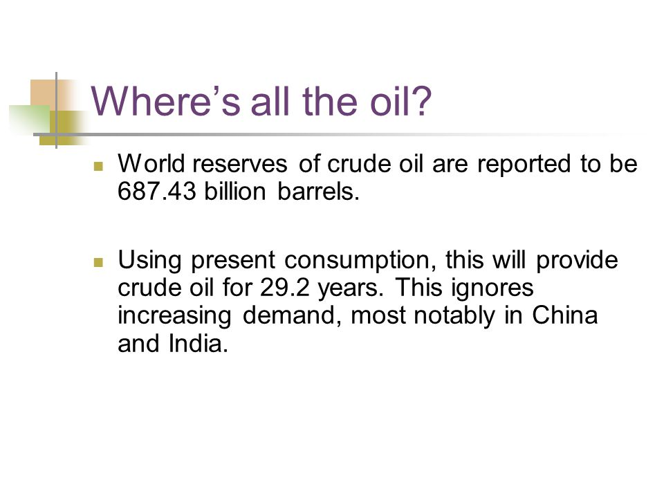 Where's all the oil. World reserves of crude oil are reported to be billion barrels.