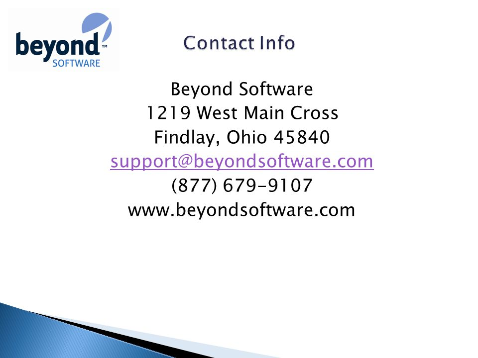 Beyond Software 1219 West Main Cross Findlay, Ohio (877)