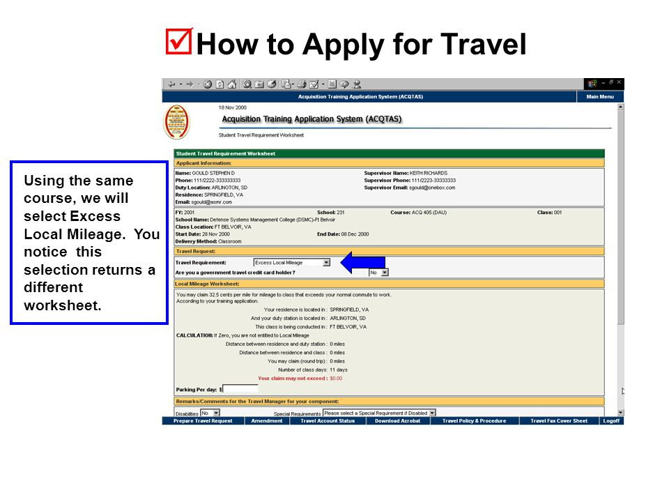  How to Apply for Travel Using the same course, we will select Excess Local Mileage.