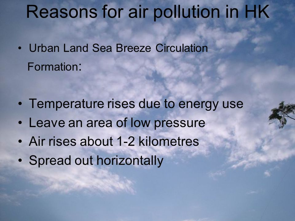 Reasons for air pollution in HK Urban Land Sea Breeze Circulation Formation : Temperature rises due to energy use Leave an area of low pressure Air rises about 1-2 kilometres Spread out horizontally