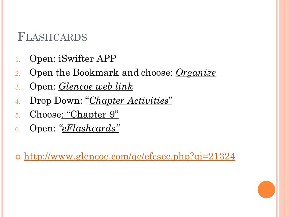 F LASHCARDS 1. Open: iSwifter APP 2. Open the Bookmark and choose: Organize 3.