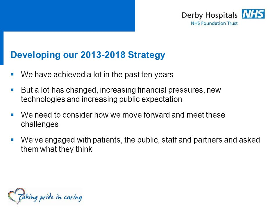 Developing our Strategy  We have achieved a lot in the past ten years  But a lot has changed, increasing financial pressures, new technologies and increasing public expectation  We need to consider how we move forward and meet these challenges  We've engaged with patients, the public, staff and partners and asked them what they think
