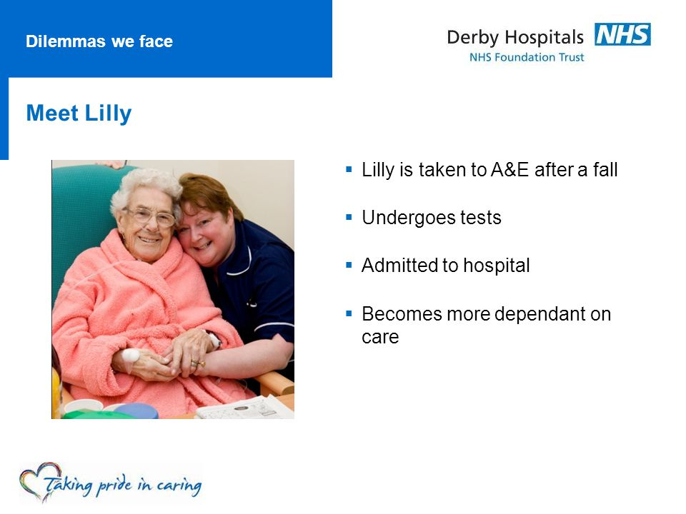 Dilemmas we face Meet Lilly  Lilly is taken to A&E after a fall  Undergoes tests  Admitted to hospital  Becomes more dependant on care
