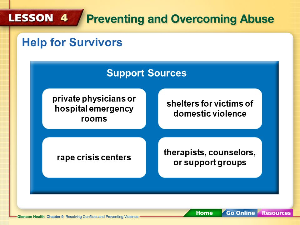 Help for Survivors Support Sources Parents, guardians, or other trusted adults Teachers, coaches, school nurses, or guidance counselors Members of the clergyPolice