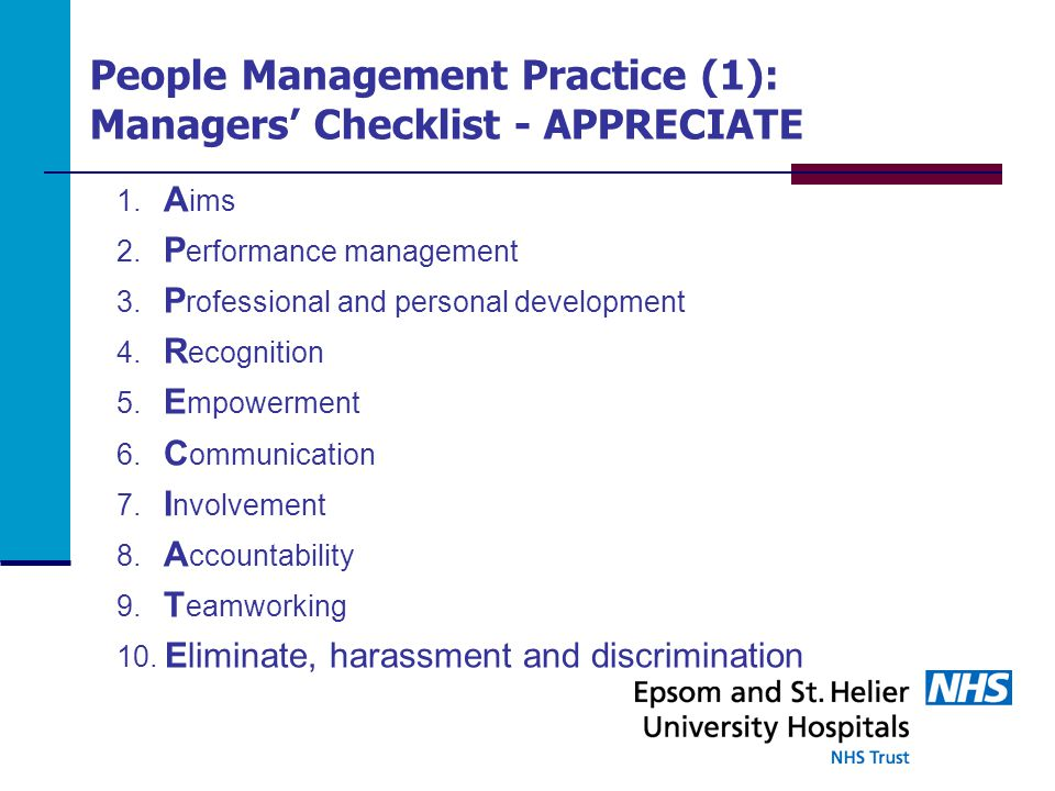 People Management Practice (1): Managers' Checklist - APPRECIATE 1.