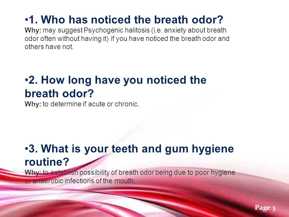 Free Powerpoint Templates Page 1 Breath Odor Assessment