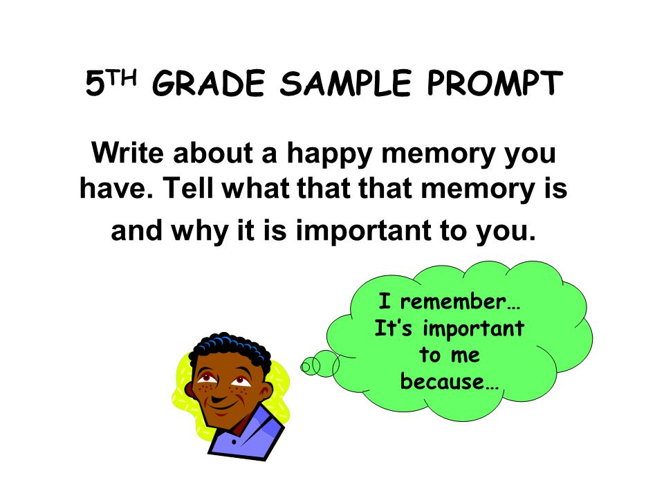 5 TH GRADE SAMPLE PROMPT Write about a happy memory you have.