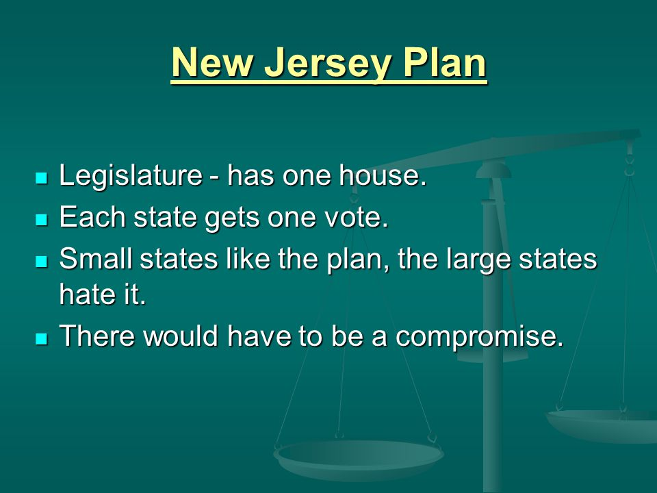 New Jersey Plan Legislature - has one house. Each state gets one vote.