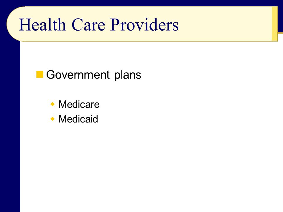 Government plans  Medicare  Medicaid Health Care Providers