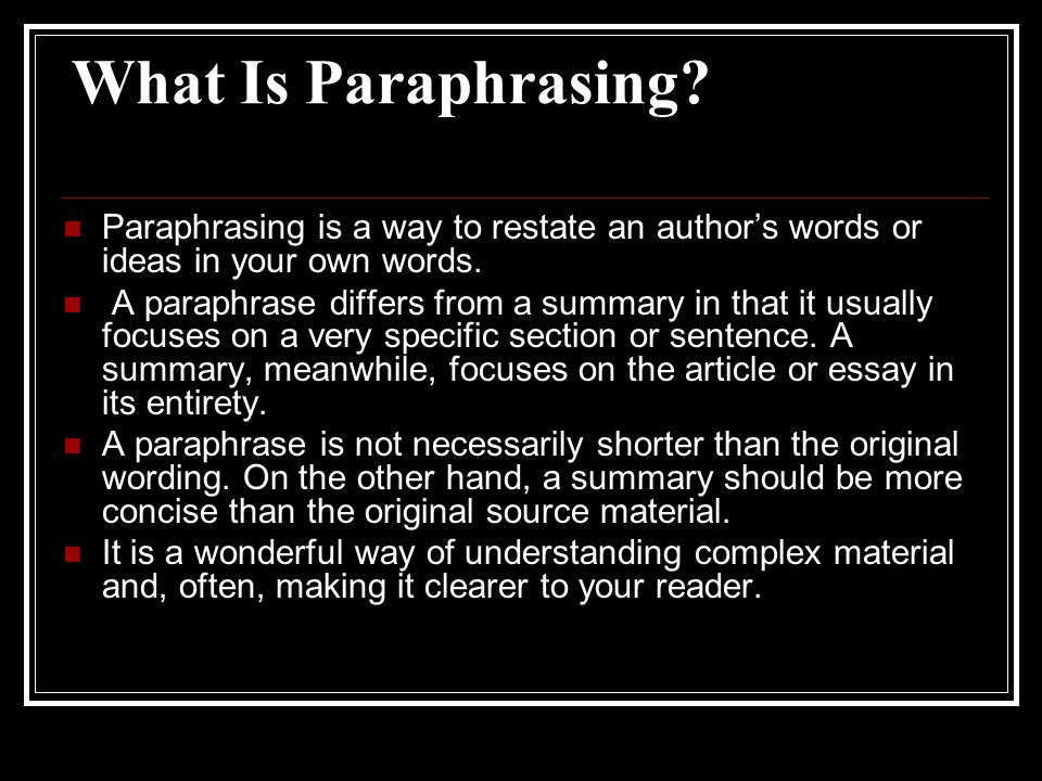 What Is Paraphrasing.