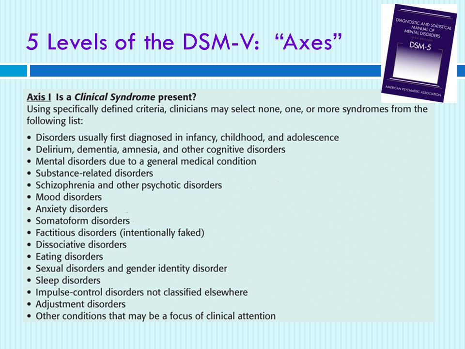 5 Levels of the DSM-V: Axes  DSM-V  American Psychiatric Association's Diagnostic and Statistical Manual of Mental Disorders (Fifth Edition)  a widely used system for classifying psychological disorders