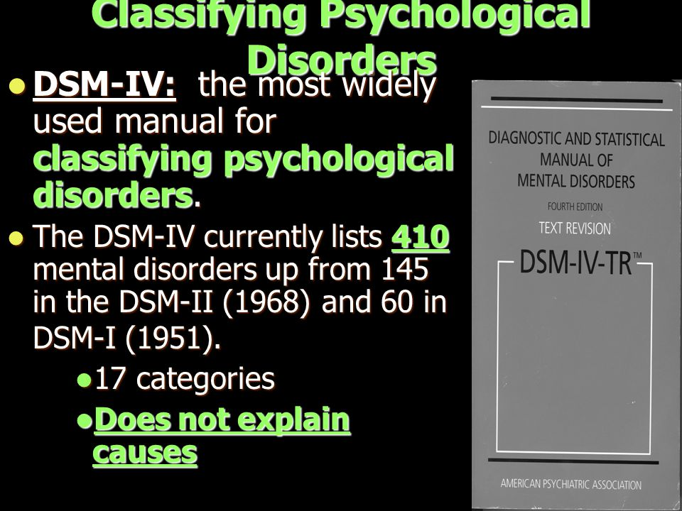 Classifying Psychological Disorders DSM-IV: the most widely used manual for classifying psychological disorders.