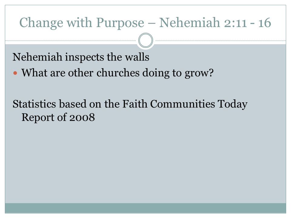 Change with Purpose – Nehemiah 2: Nehemiah inspects the walls What are other churches doing to grow.