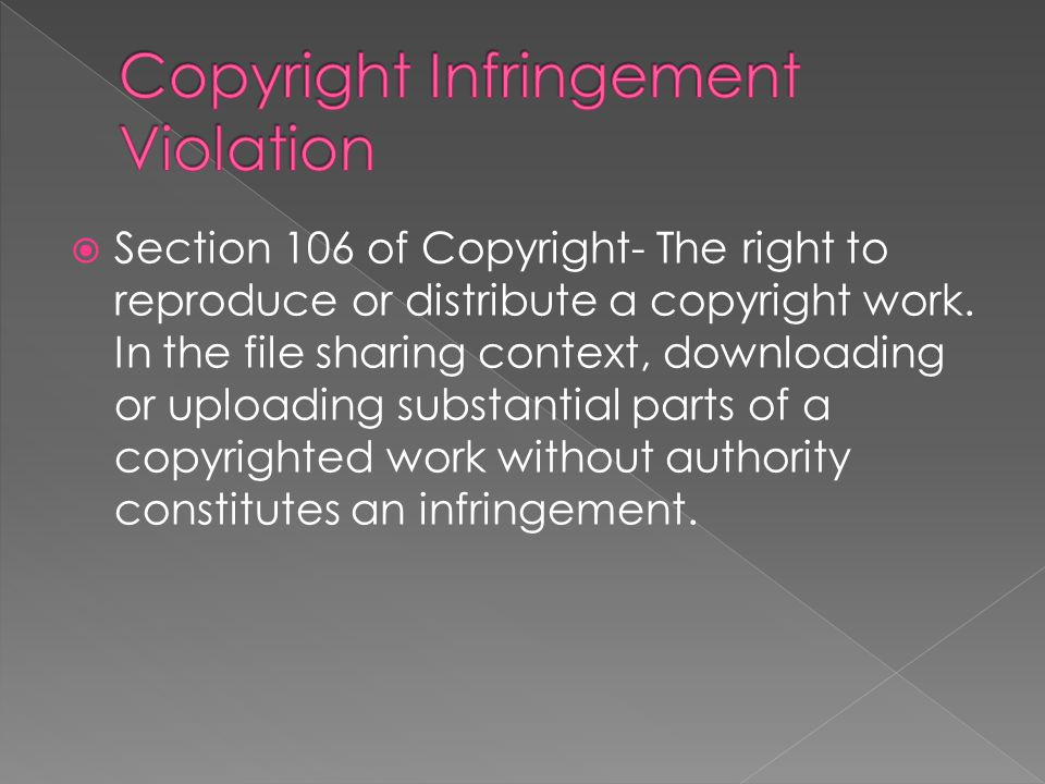 section 106 of copyright the right to reproduce or distribute a copyright work
