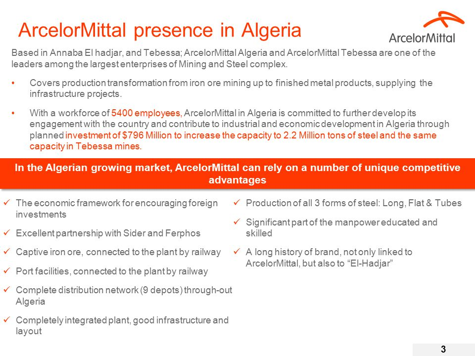 ArcelorMittal presence in Algeria Based in Annaba El hadjar, and Tebessa; ArcelorMittal Algeria and ArcelorMittal Tebessa are one of the leaders among the largest enterprises of Mining and Steel complex.