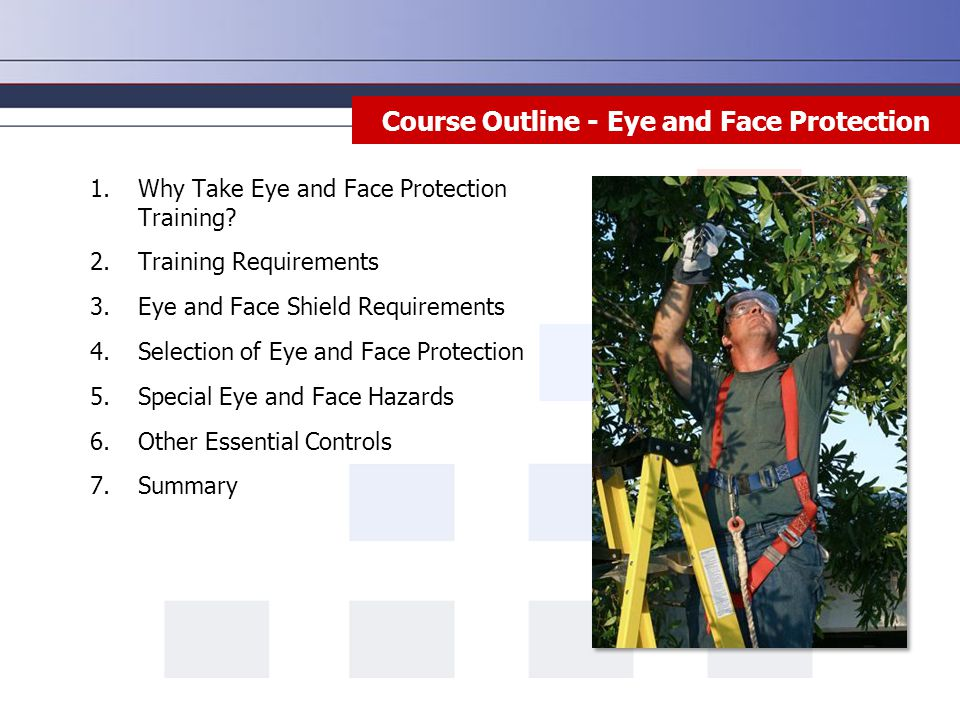 Course Outline - Eye and Face Protection 1.Why Take Eye and Face Protection Training.