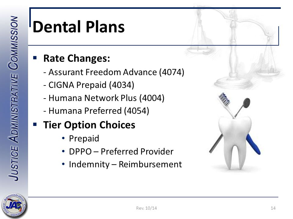 Dental Plans  Rate Changes: - Assurant Freedom Advance (4074) - CIGNA Prepaid (4034) - Humana Network Plus (4004) - Humana Preferred (4054)  Tier Option Choices Prepaid DPPO – Preferred Provider Indemnity – Reimbursement 14Rev.